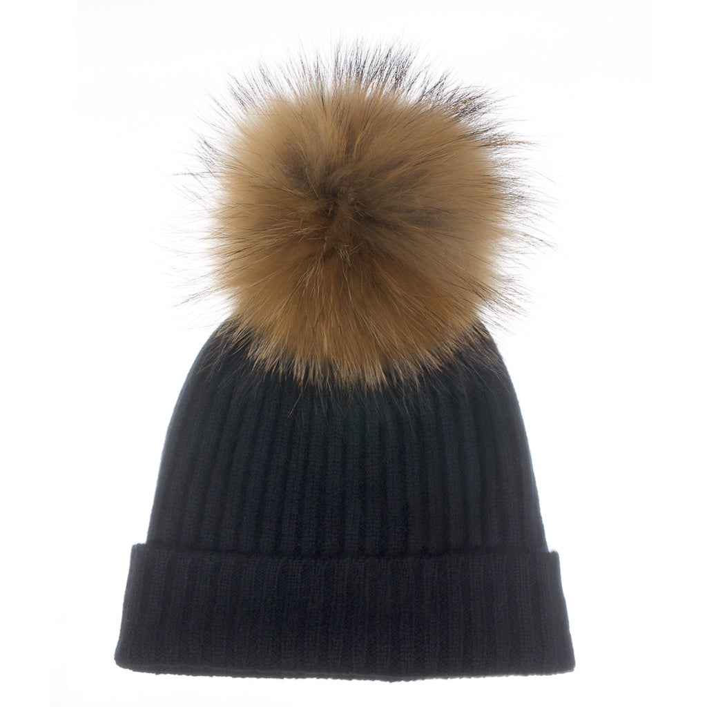 Popski London Black Cashmere Fur Pom Pom Hat Natural