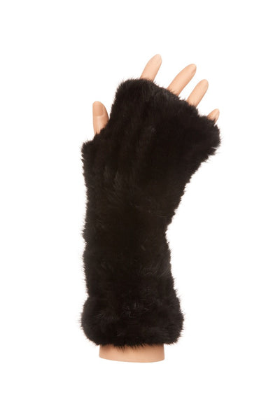 Mink Fur Fingerless Mittens Black