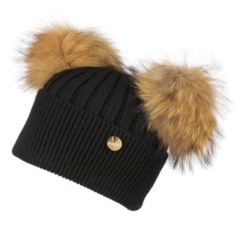 Double Angora Fur Pom Pom Hat Black with Natural Pom Poms