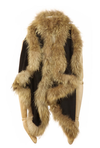 Cashmere Fur Trimmed Scarf Black with Natural