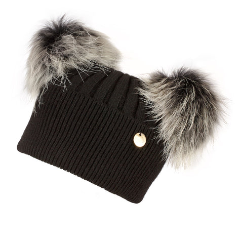 Double Angora Fur Pom Pom Hat Black with Silver White Pom Poms