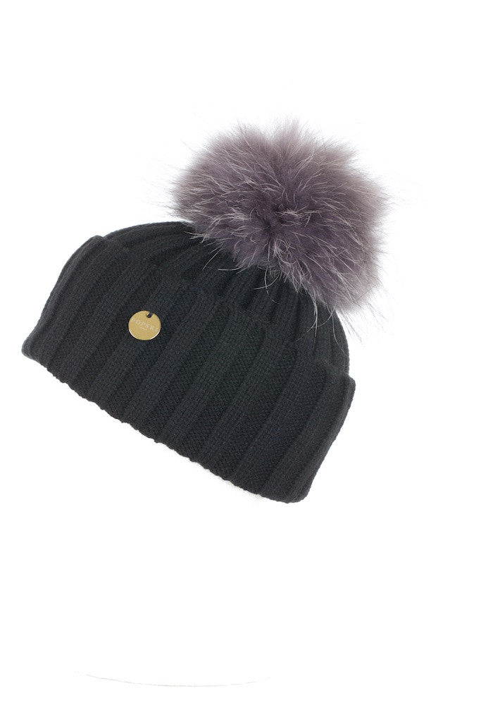 Raccoon Fur Pom Pom Hat Black with Silver Fox Pom Pom