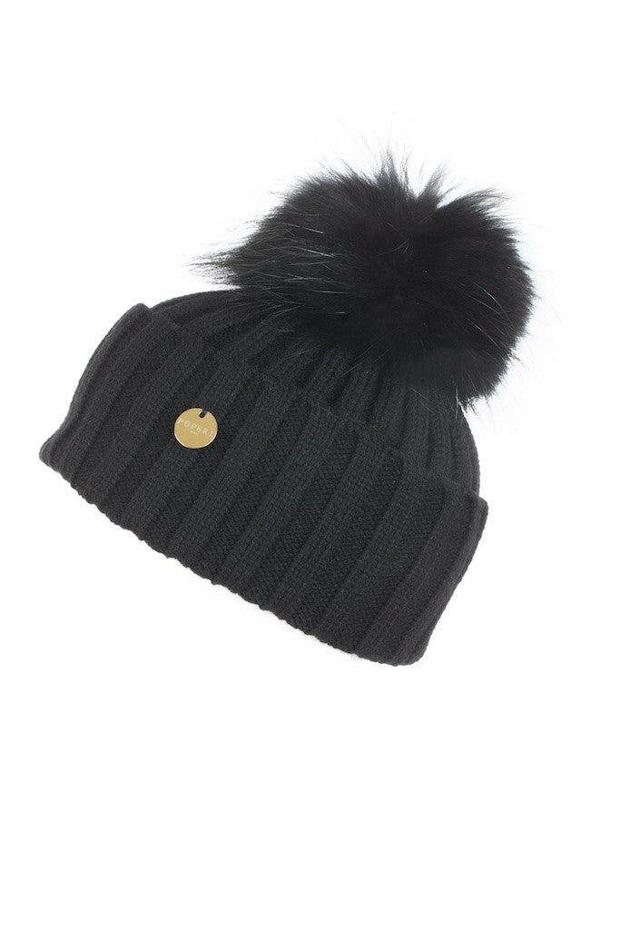 Raccoon Fur Pom Pom Hat with Matching Pom Pom - Black
