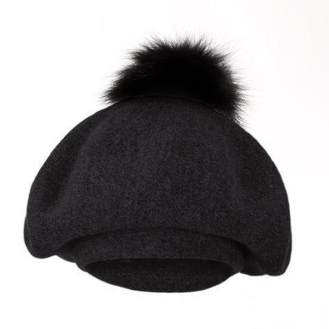 Bella Beret Fur Pom Pom Hat Black with Black Fur Pom Pom
