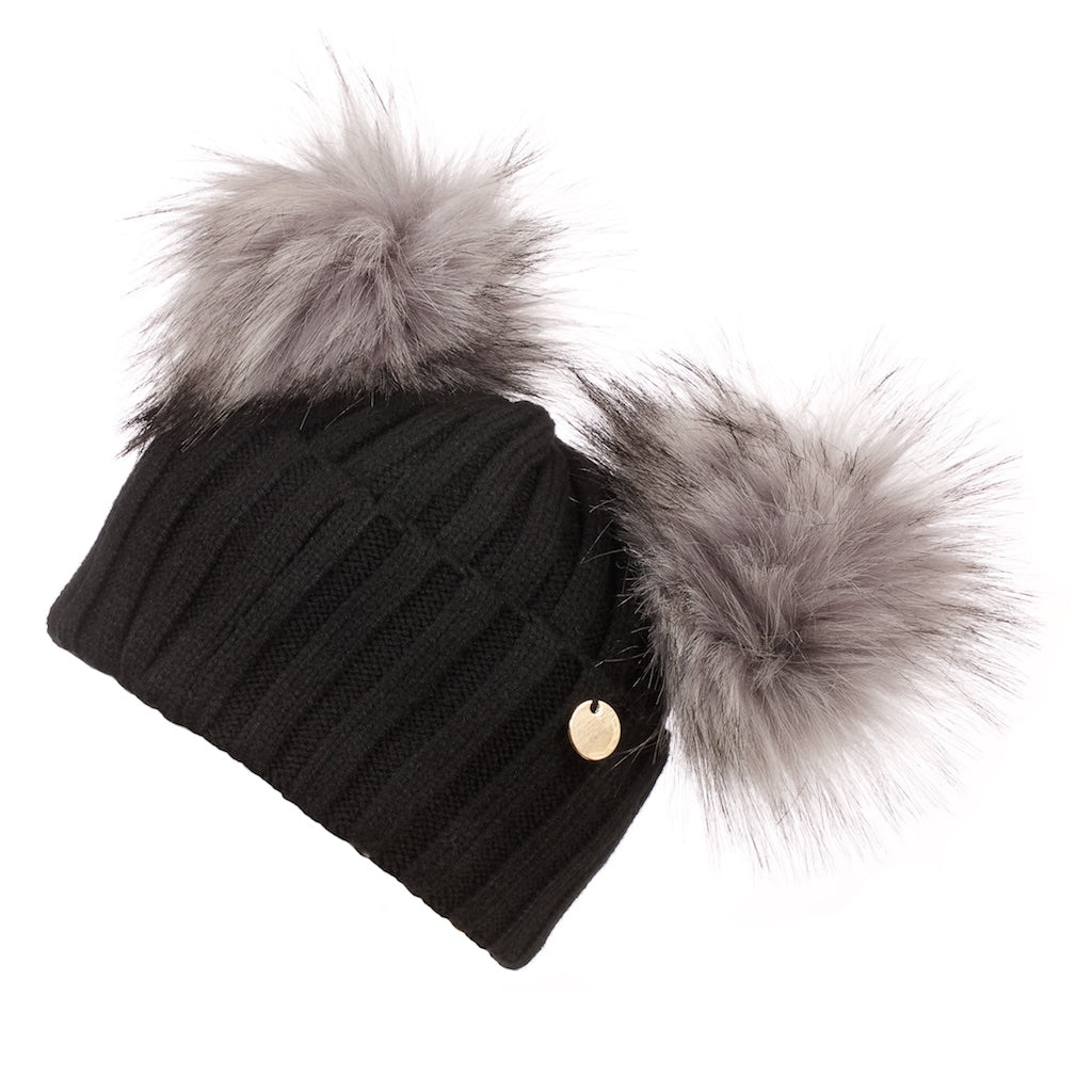 Double Faux Fur Pom Pom Hat Black with Grey Faux Pom Pom