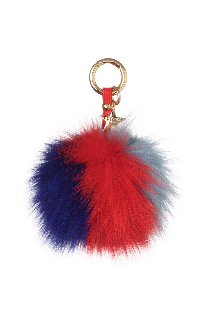 Fox Fur Pom Pom Keyring - Navy/Red/Light Blue