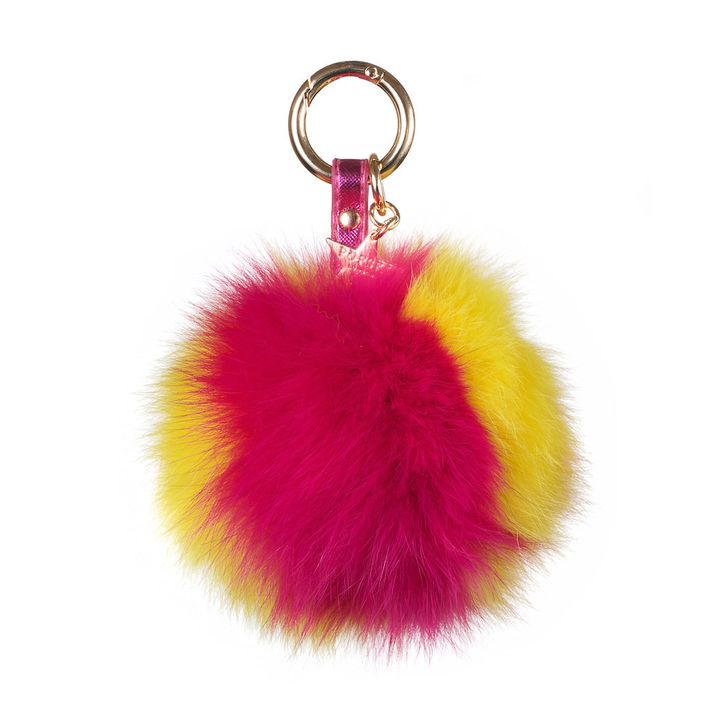 Fox Fur Pom Pom Keyring - Hot Pink / Yellow