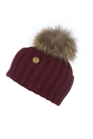 Berry Fur Pom Pom Hat with Natural Fur Pom Pom
