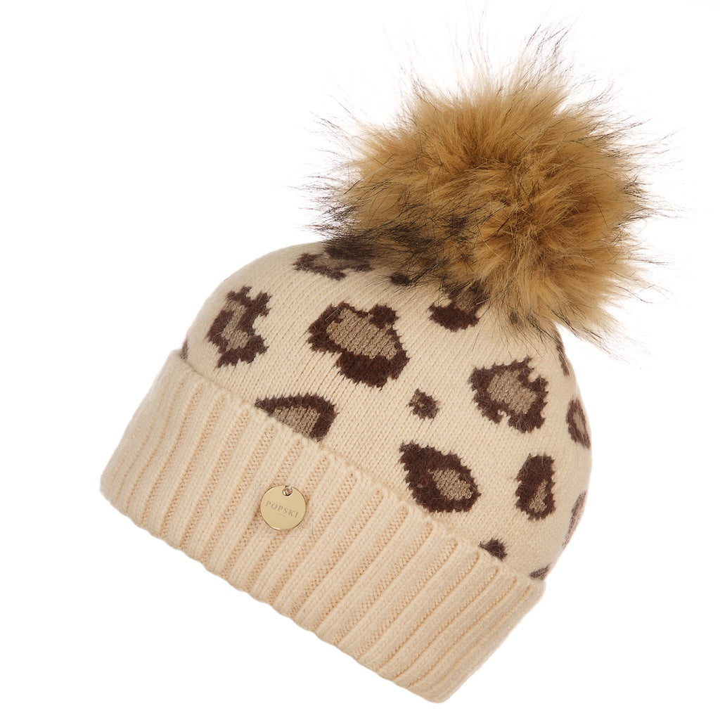 Light Beige Leopard Angora Pom Pom Hat with Faux Pom Pom