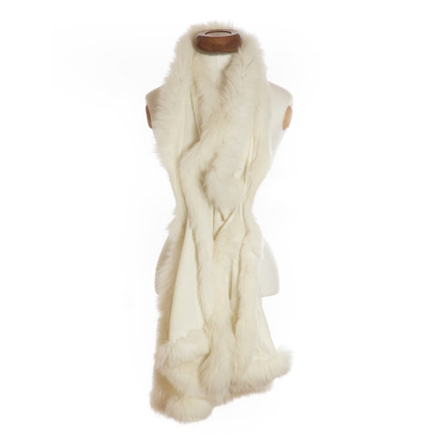 Cashmere Fur Trimmed Scarf Ivory with matching trim