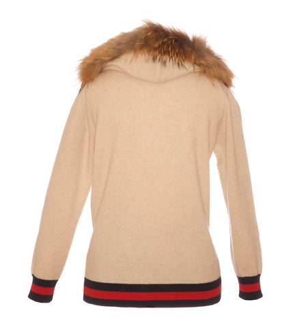 Navy/Red Stripe Cashmere Raccoon Fur Hooded Cardigan