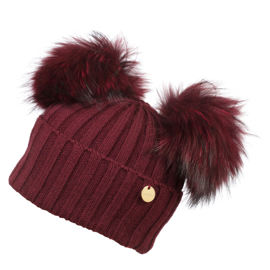 Double Raccoon Fur Pom Pom Hat Berry