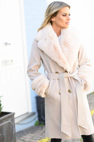The Egerton Double Breasted Coat Soft Fawn - FAUX FUR