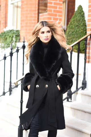 The Egerton Double Breasted Coat Black - FAUX FUR