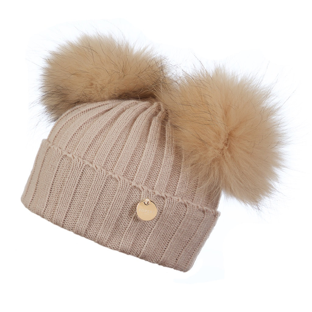 Mini Popski Double Beige Fur Pom Pom Hat