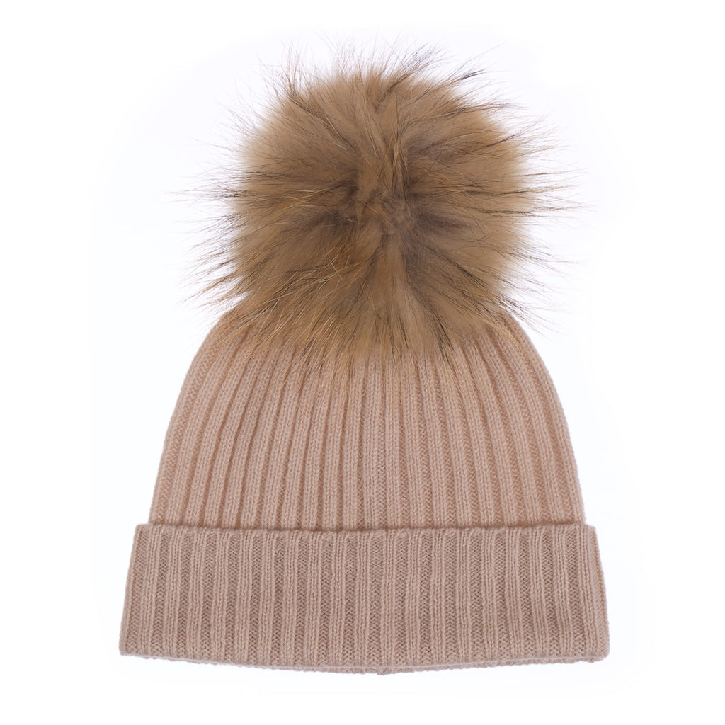 Popski London Biscuit Cashmere Fur Pom Pom Hat Natural