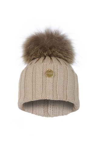 Beige Raccoon Fur Pom Pom Hat