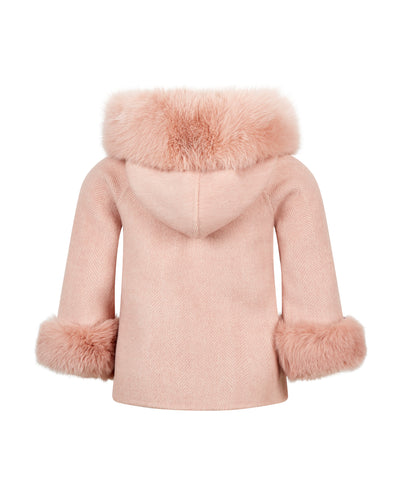 Mini Popski London Cashmere Pink Herringbone Jacket