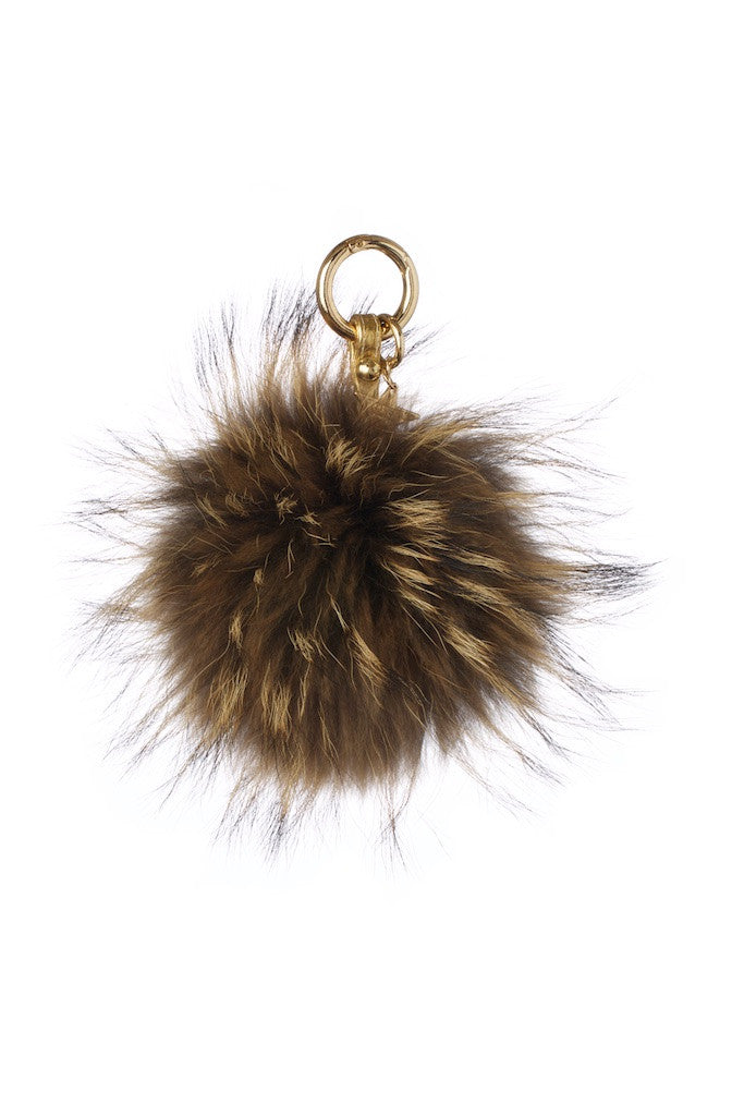Raccoon Fur Pom Pom Keyring - Natural