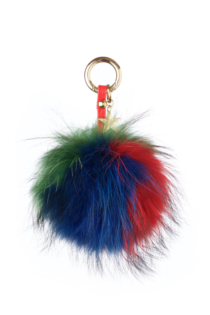 Fox Fur Pom Pom Keyring - Red/Blue/Green