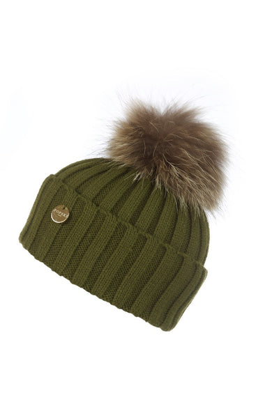8d05bdc3030 Khaki Raccoon Fur Pom Pom Hat – Popski London