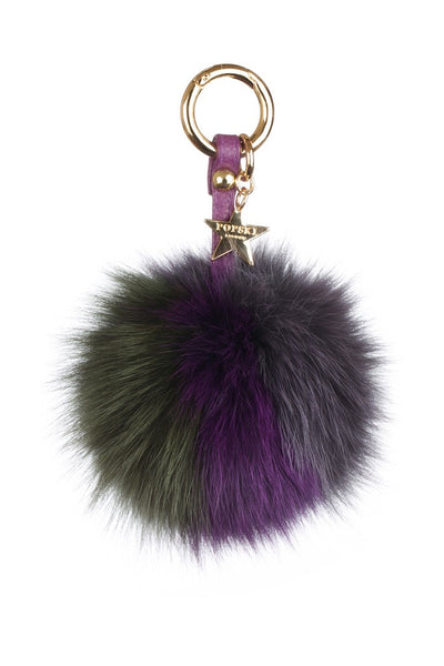 Fox Fur Pom Pom Keyring - Grey/Purple/Green