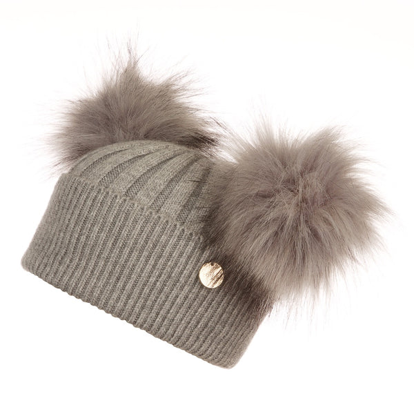 Mini Popski Double Trouble Angora Whisper Grey Faux Fur Pom Pom Hat