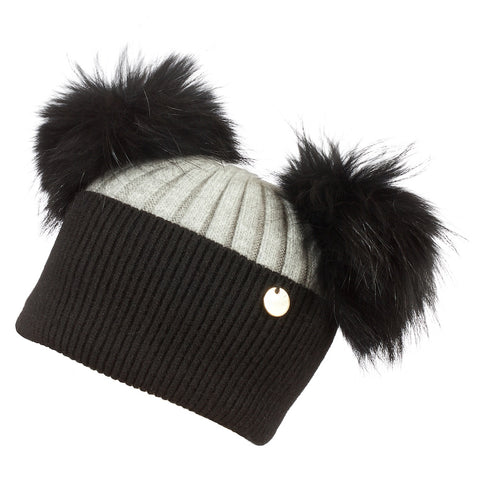 Double Angora Fur Pom Pom Hat Midnight Black and Whisper Grey