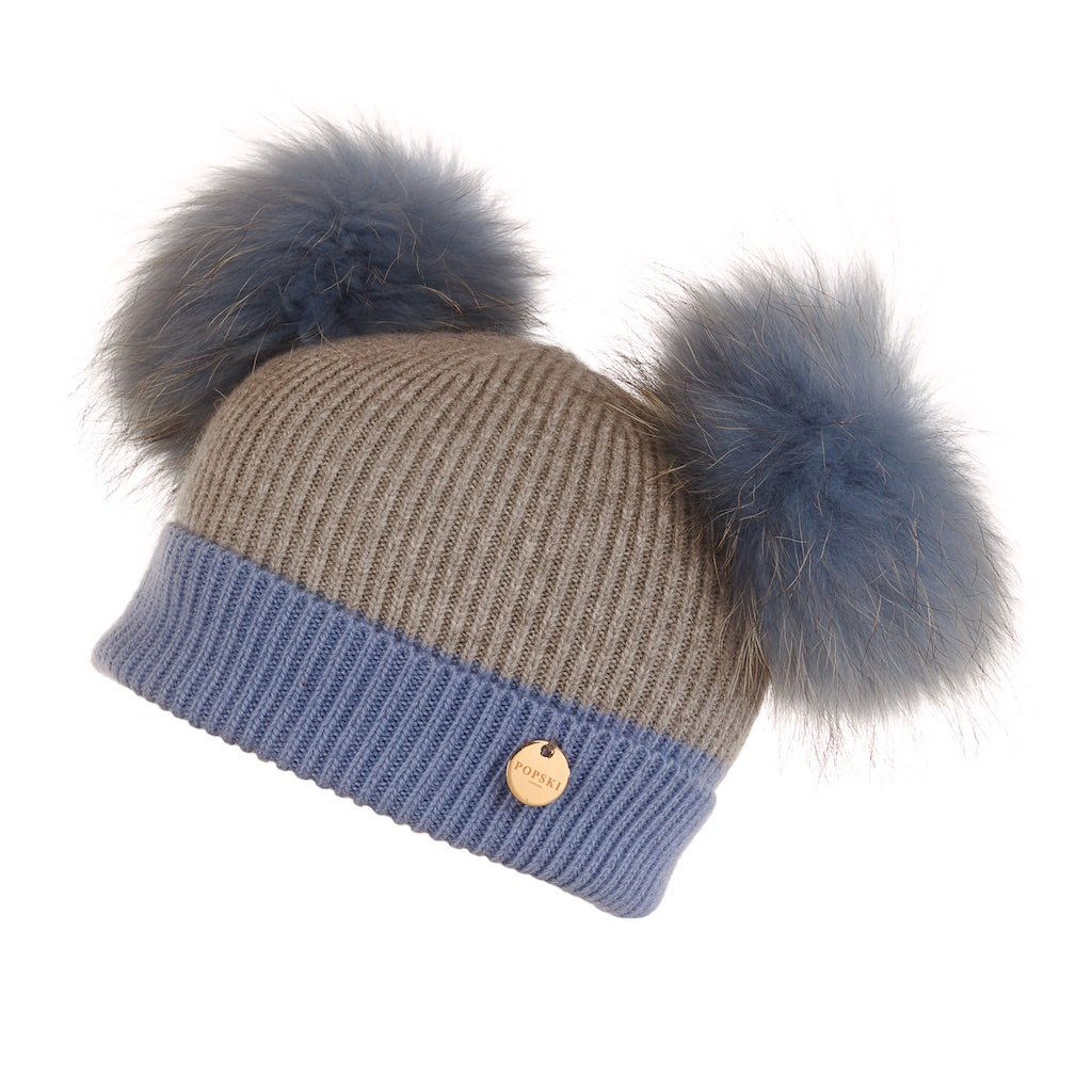 Mini Popski Double Trouble Angora Baby Blue and Whisper Grey Fur Pom Pom Hat