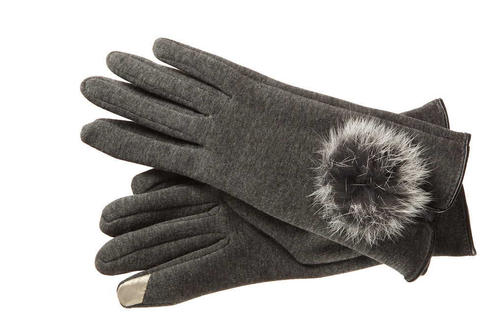 Thermal Grey Gloves Fur Pom Pom