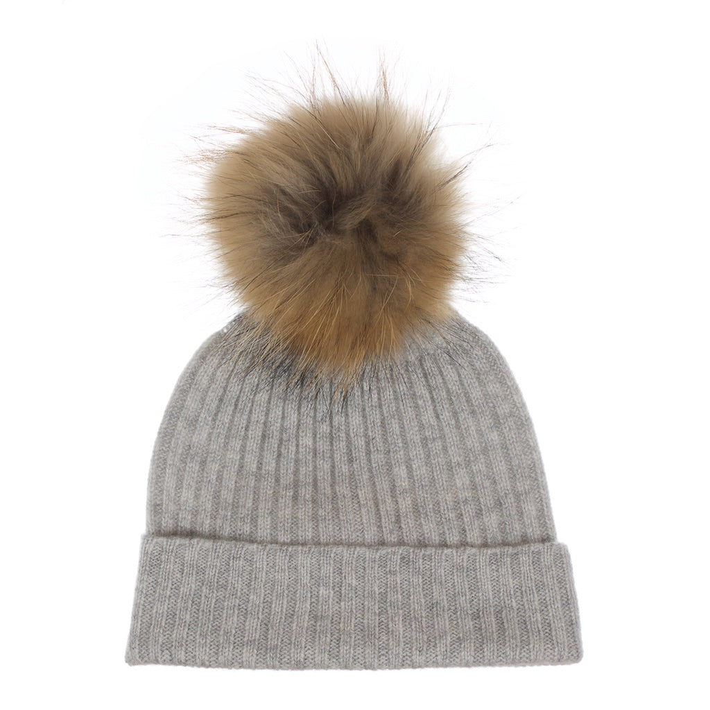 Popski London Whisper Grey Cashmere Fur Pom Pom Hat Natural