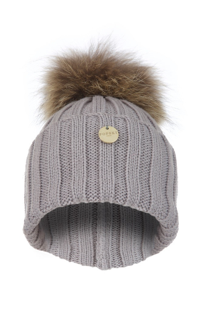 3ae6170a14d Raccoon Fur Pom Pom Hat - Light Grey with natural pom pom