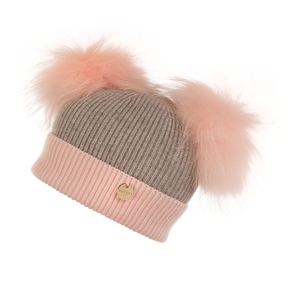 Mini Popski Double Trouble Angora Baby Pink and Whisper Grey Fur Pom Pom Hat