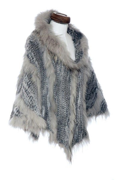 Rabbit Fur Hooded Poncho Cape Silver Grey