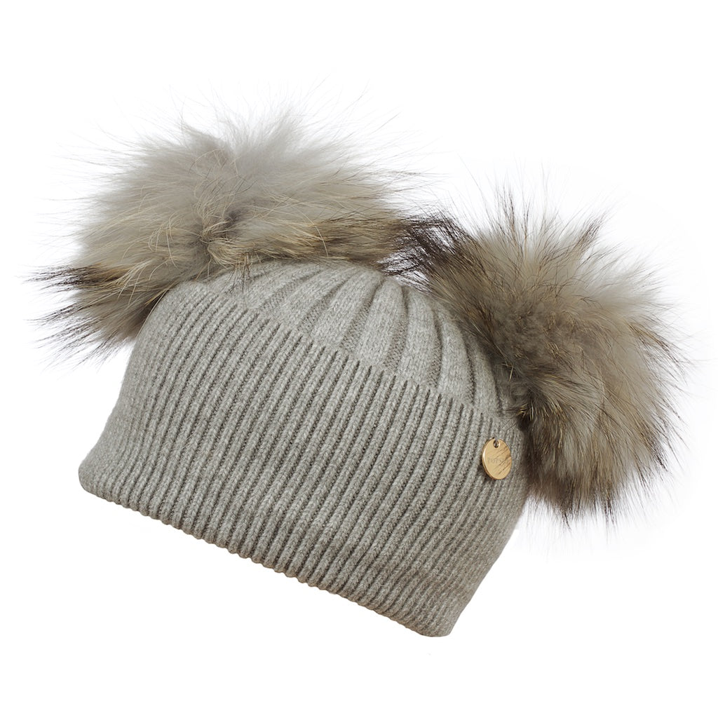 Double Angora Fur Pom Pom Hat Whisper Grey