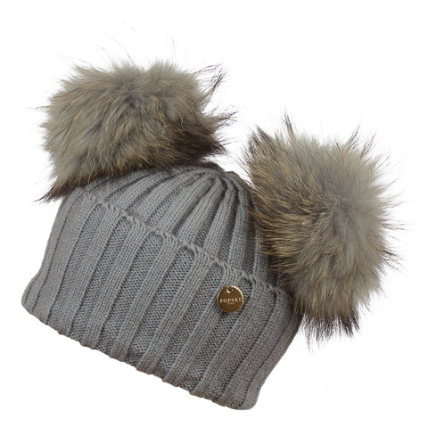 Double Faux Fur Pom Pom Hat Grey with Matching Faux Poms