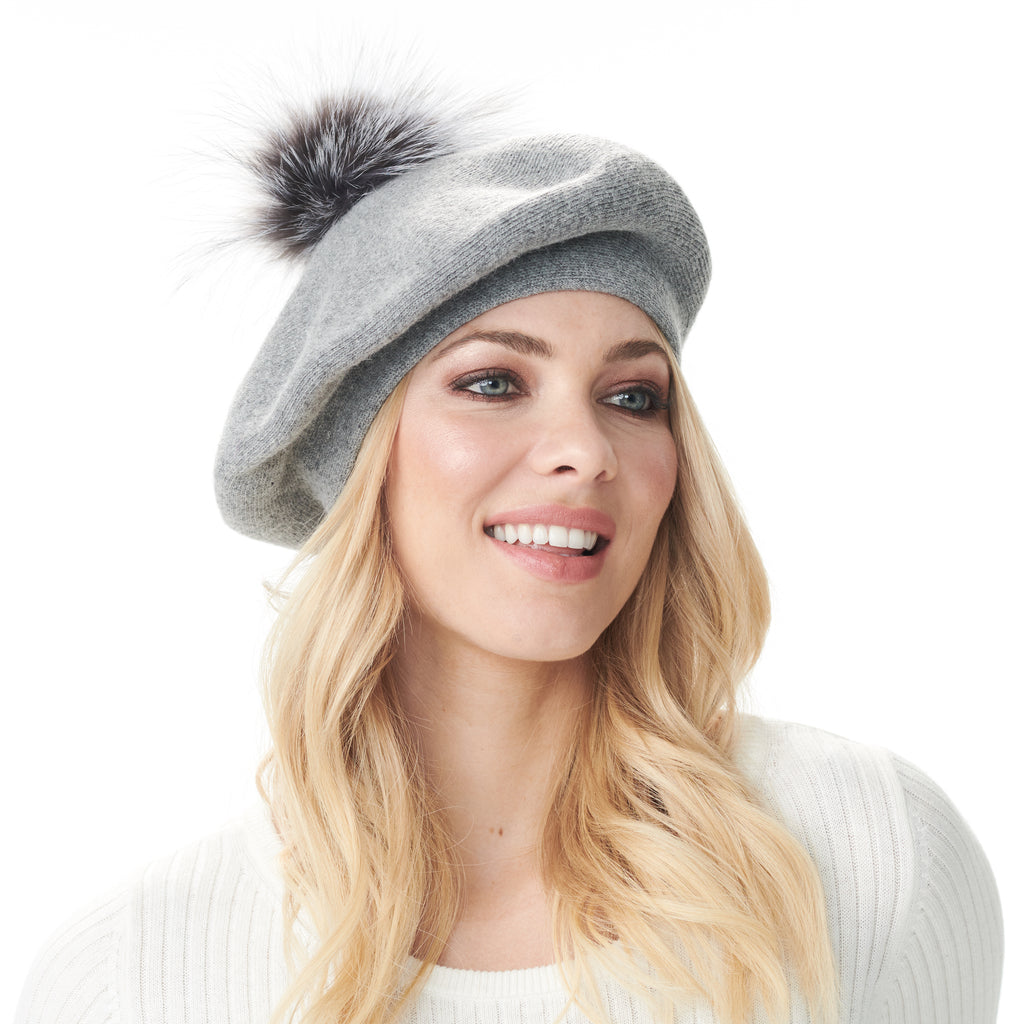 Bella Beret Fur Pom Pom Hat in Charcoal Grey