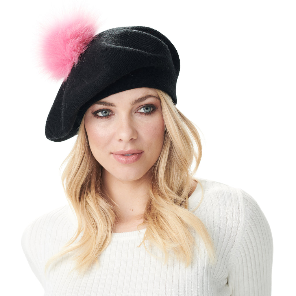 Bella Beret Fur Pom Pom Hat Black with Hot Pink Fur Pom Pom