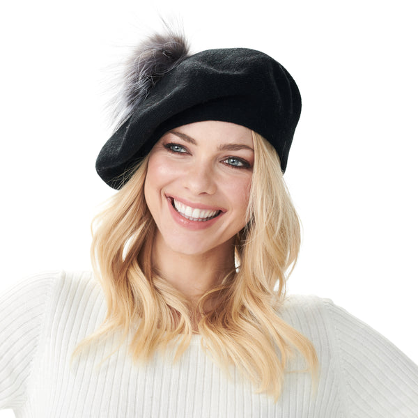 Bella Beret Fur Pom Pom Hat Black with Silver Fox Fur Pom Pom