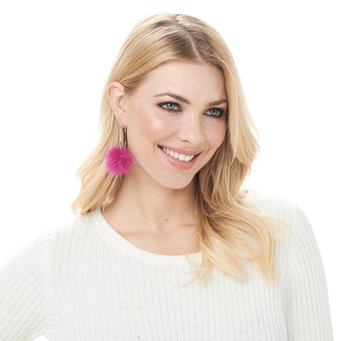 Monica Mink Fur Hoop Earring - Hot Pink