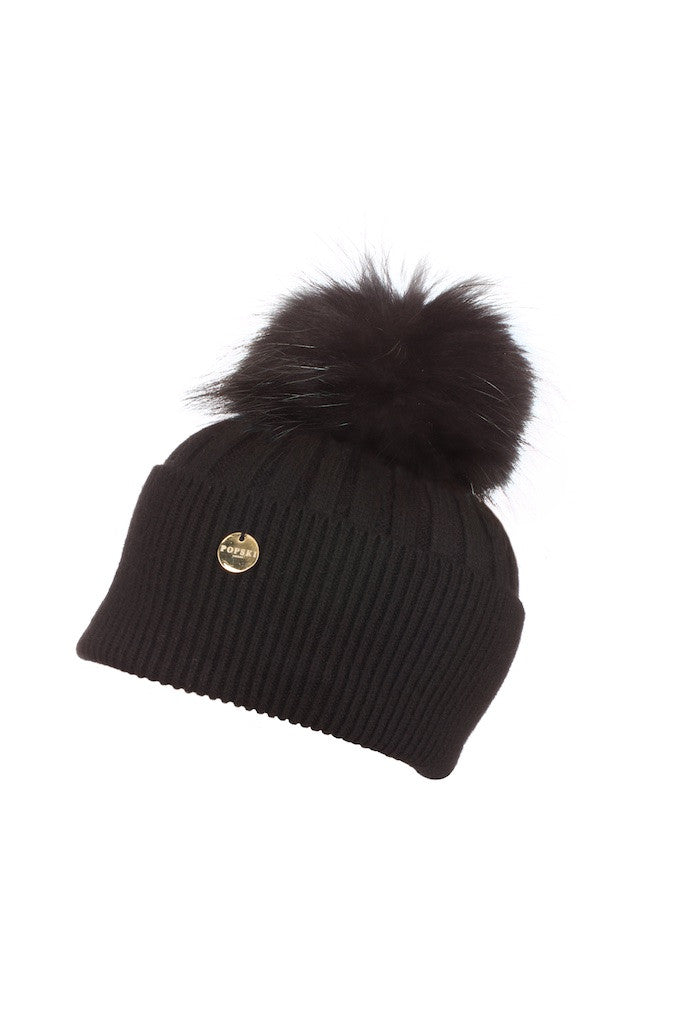 Angora Pom Pom Hat - Black with Black