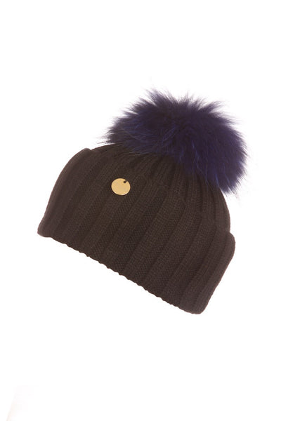 Raccoon Fur Pom Pom Hat - Black with electric blue fur pom pom
