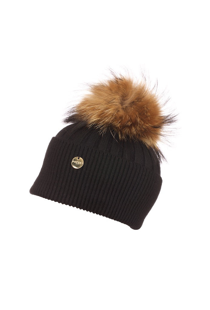 Angora Pom Pom Hat - Black with natural