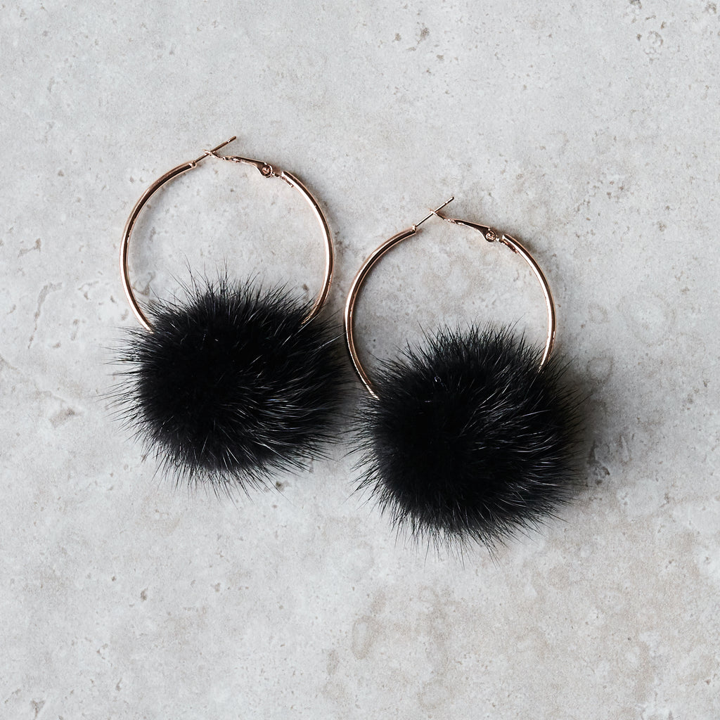 Monica Mink Fur Hoop Earring - Midnight Black