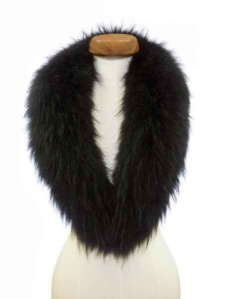 Jet Black Fur Collar