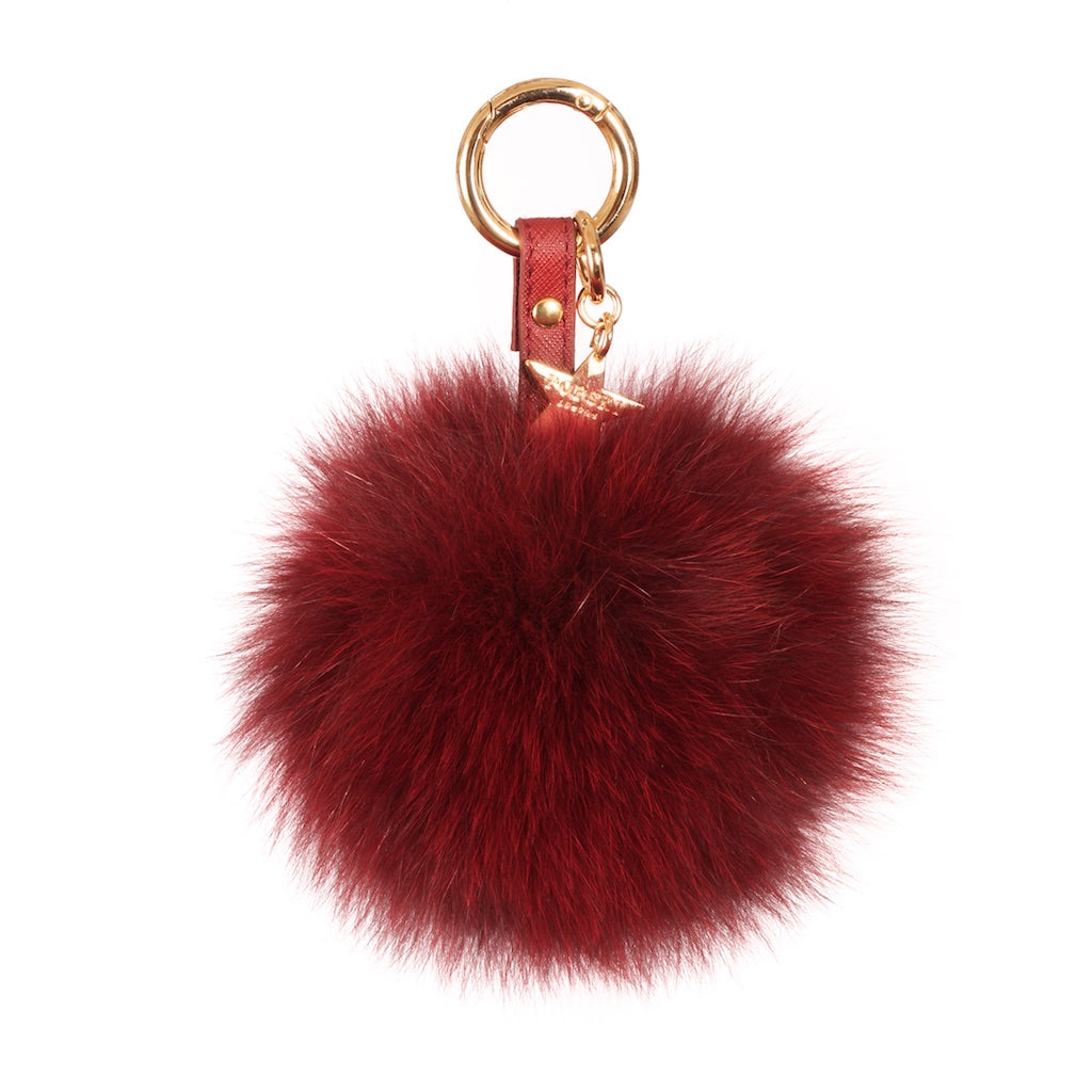 Fox Fur Pom Pom Keyring - Burgundy