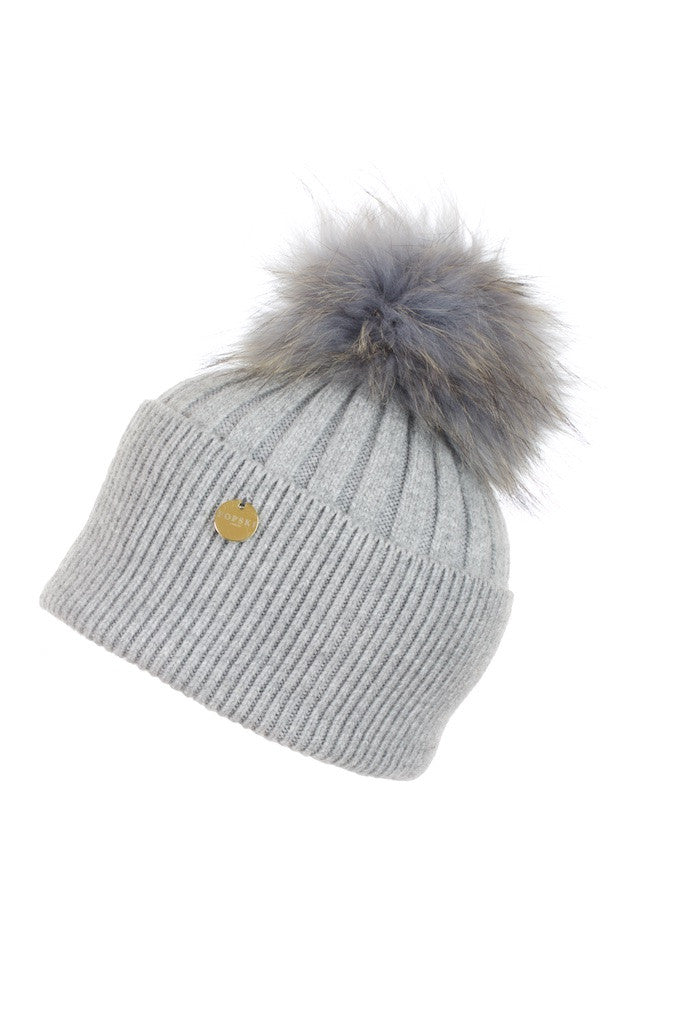 Angora Pom Pom Hat - Whisper Grey