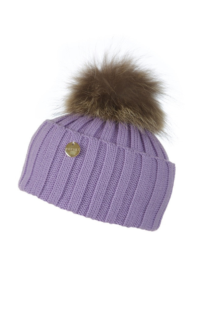 Raccoon Fur Pom Pom Hat - Lilac