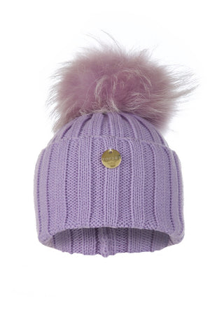 Raccoon Fur Pom Pom Hat with Matching Pom Pom - Lilac