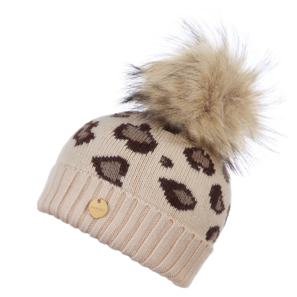 Mini Popski Light Beige Leopard Faux Fur Pom Pom Hat